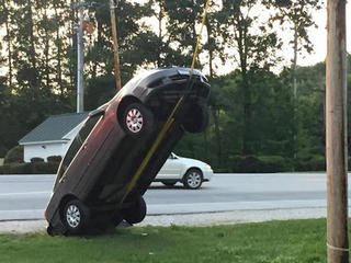 Car ends up almost vertical due to GPS