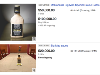 EBay prices for Big Mac Sauce bottles are insane