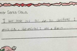 First-grader asks Santa for food and a blanket